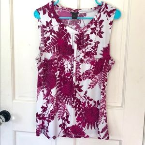 Ann Taylor White and Magenta Sleeveless Top